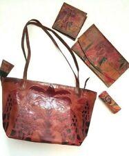 Vtg Brown Tooled Stamped Leather Safari Giraffe Tote Bag Purse Wallet Lipstick