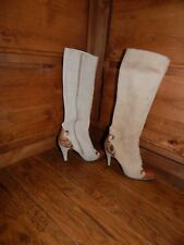 VINTAGE THE WILD PAIR MADE IN SPAIN TAN SUED SNAKESKIN SIZE 6 HIGH HEEL BOOTS