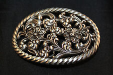 "New Floral & Rope Western Antiqued Silver Oval Trophy Belt Buckle for 1.5"" Belt"