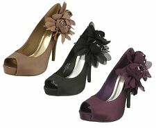 Anne Michelle Women's Satin Peep Toe Shoes
