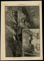 Firefighters Rescue Daring Inferno Public Safety 1884 wood engraved print