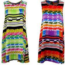Women's Shift A-Line Multicolour Stripe Print Ladies Sleeveless Tunic Dress