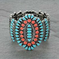 SQUASH blossom bracelet in silver  orange and turquoise   stretch