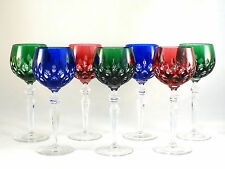 Crystal Multi Color Green Blue Cranberry Water Wine Goblets Glasses Mint!