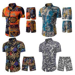 Men's 2 Piece Tracksuit Floral Hawaiian Shirt and Shorts Suits Jogging Sweatsuit