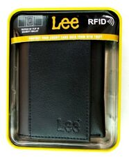 Lee Men's Trifold Wallet Black Leather RFID Blocking Security New Gift Box MP$28