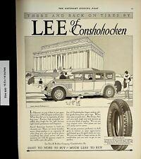 1928 Lee Conshohocken Cord Balloon Tire Vintage Print Ad 4324