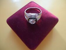 Men's Ring With One Big  Crystal Or Rhinestones Silver Plate Size - 12.0   #R17.