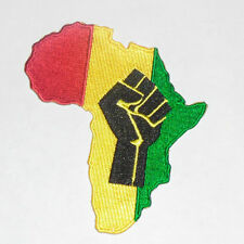 RASTA AFRICAN FIST Embroidered iron-on Patch 3 7/8""