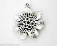 4 breloques fleur en argent tibétain 21 mm