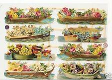 1 Bogen Glanzbilder Poesie Blumenboote ef 7325 Nr.491