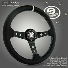 BRAND NEW 350MM Deep Dish Sparco Genuine Leather Sport Racing Steering Wheel