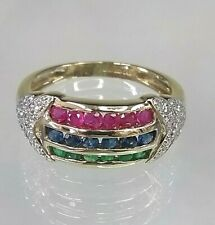Vintage Genuine Multi Precious Stone Cluster Ring 9ct Yellow Gold  Emerald/Ruby