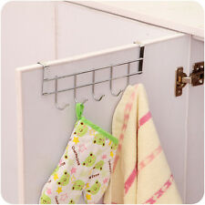 Stainless Steel Over Door Hanging Rack Holder 5-Hook Hanger 1.6cm Thickness