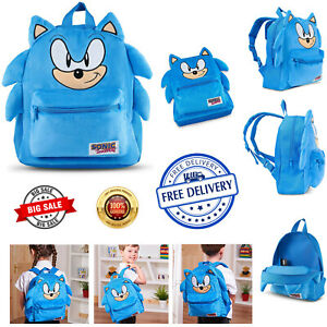 Sonic The Hedgehog 3D Plush Backpack Kids Sega School Book Lunch Swim Travel Bag