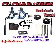 "2007 - 13 Chevy Silverado GMC Sierra 1500 6"" / 4"" Spindle FULL LIFT KIT + SHOCKS"