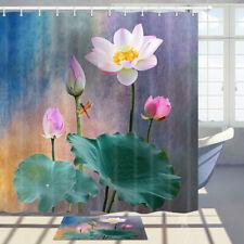 "Lotus Flower Leaves Fabric Shower Curtain Bathroom Decor Art Design Curtains 71"""