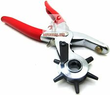 LEATHER REVOLVING HOLE PUNCH Hand Pliers Punch Belt Holes Rubber Hand Tool NEW
