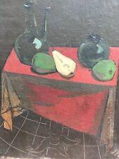 Belle Peinture Hst Huile Sur Toile André Bouey Cubiste Nature Morte Fruit