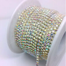 10 Yards ss8 2.5MM Crystal Glass Clear AB Rhinestone Silver Chain