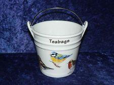 Garden Birds Teabag tidy.Bucket shaped used teabag pot,Robin,blue tit,chanffinch