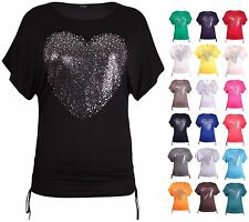 Womens Plus Size Sliver Heart Print Ladies Short Sleeve Batwing Long T-Shirt Top