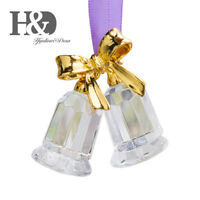 Crystal Bell Figurine Glass Collectibles Ornament Xmas Tree Decor Wedding Gifts
