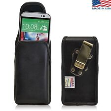 Turtleback HTC One M8 Vertical Black Leather Pouch Holster Case Metal Belt Clip