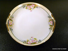 """Hand Painted DOUBLE HANDLED CAKE Plate ~ GILT TRIM ~ Pink Roses ~ 9 3/4"""" NIPPON"""