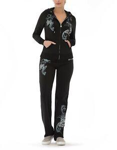 BCBG MAXAZRIA, Branded Butterfly Hoodie & Pant Set BC13684J/P Black