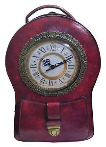 Designer Handtasche Uhr Antik Rot - mit echter Uhr - Damenhandtasche