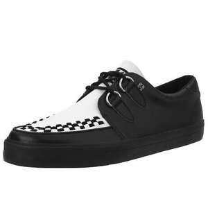 T. U. K.A9180 Neuf Rare Chaussures Hommes Noir Cuir Blanc Vlk Creeper Basket
