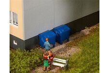 Faller 180914 HO 1/87 2 Conteneurs à ordures bleus