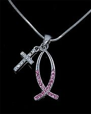 Christian Fish Symbol Cross SilverTone Crystal  Charm Pendant Chain Necklace Pk