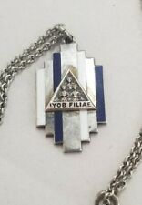 Vintage Masonic IYOB Filiae (Job's Daughters) Sterling & Enamel Necklace Pendant