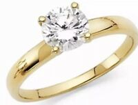 GOLD Ring 14k 1 carat Round Solitaire simulated Diamond Engagement 7 4 5 6 8 9