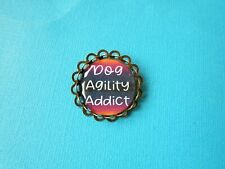 """Dog Agility Addict"" Brooch Badge Puppy Bronze Tone Pin Handmade Multi-Coloured"