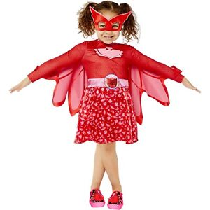 Girls PJ Masks Pink Owlette Fancy Costume Dress cape + mask Superhero