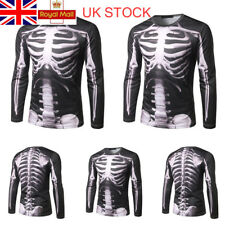 Halloween 3D Digital Print Skeleton Tops Long Sleeve Tee Crew Neck T-shirt L-2XL