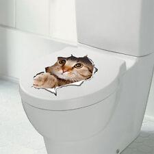 Cartoon Cat Toilet Seat Wall Sticker PVC Art Removable Bathroom Decals Decor US