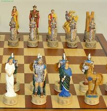 "TROY/SPARTA CHESS SET - TROJAN HORSE - SAPELE BOARD 15¾"" - K=3¼"" (ww r72048-sm)"