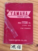 Yamaha TY250 1975 516 125TY TY 125  catalogue pièces détachées parts list moto