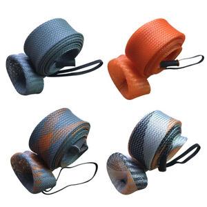 Fishing Rod Cover Braided Mesh Casting Spinning Fishing Pole Sleeve Glove UK