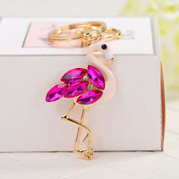 Rosy Delicate Flamingo Design Keychains Rhinestone Key Rings Pendant Fashion