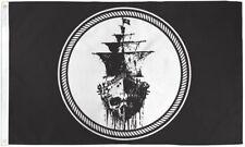 Black Sea 3X5' Flag Pirate Jolly Roger Black Ship New 3X5' Big Flag