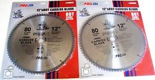 "2 ATE PRO TOOLS 12"" PIRANHA 80T CARBIDE CIRCULAR TABLE COMPOUND MITER SAW BLADES"