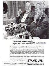 PUBLICITE PAA PAN AMERICAN AVION PARTIE D'ECHEC DE 1957 FRENCH AD PUB VINTAGE