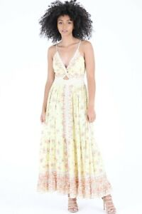 NWT Angie Keyhole Cut Out Yellow Smocked Floral Summer Sun Maxi Boho Dress S/M/L