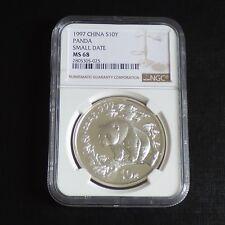 """China 10 yuans Panda 1997 MS68 (NGC) """"Small Date"""" silver 99.9% 1 oz"""