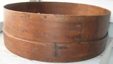 ANTIQUE WOOD & SCREEN FLOUR SIFTER, OVERLAP NAILED SEAM, WIDE BOTTOM RIM